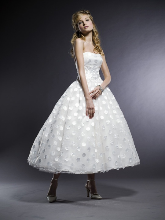 Henry Roth. Zoe. Altered to tea length. Cute and Different WHITE POLKA DOTS wedding dress