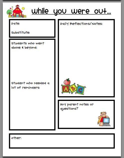 Best  Substitute Teacher Forms Ideas On   Substitute