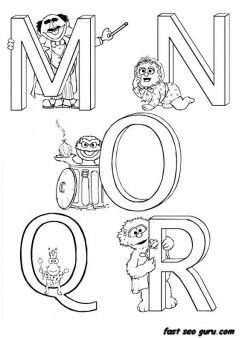Printable Alphabet Sesame Street coloring in worksheets - Printable Coloring Pages For Kids