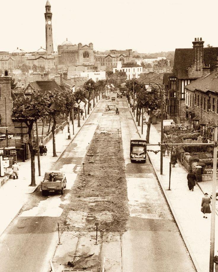 Tram line removal. Bristol Road. 1950s.