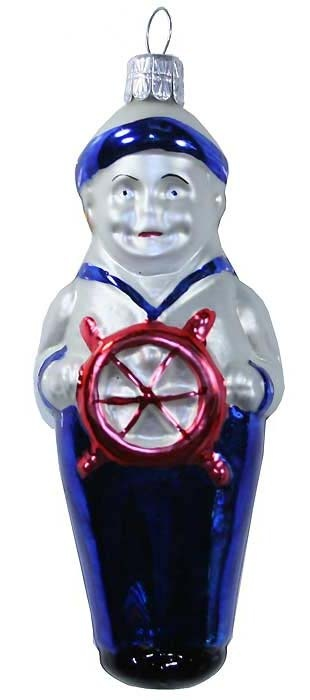 Blown glass sailor boy Christmas ornament from the Czech Republic