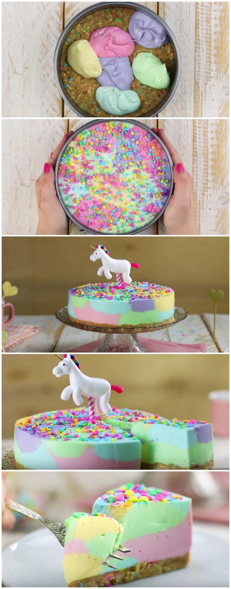 Cheesecake de Unicórnio: ninguém resiste à essa delícia! (confira essa receita que é bem fácil…) #cheesecake #unicornio #receitafacil #delícia