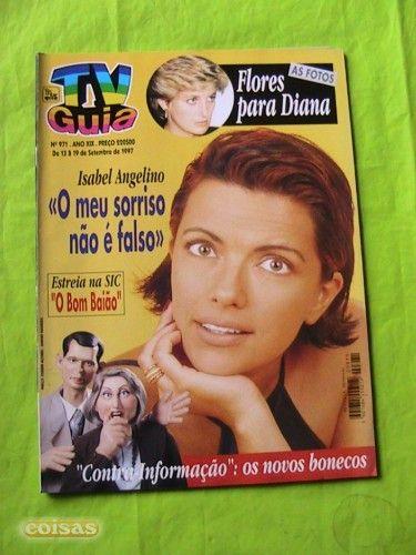 Funeral da Princesa Diana como chamada de capa da TV Guia.