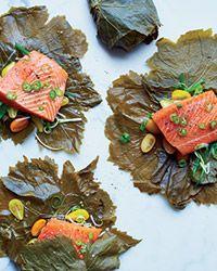 Grape Leaf-Wrapped Salmon with Serrano-Scallion Sauce  Recipe on Food & Wine