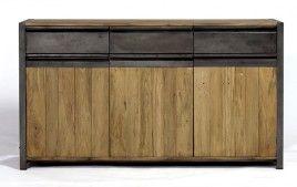 Buffet industriel fer et bois teck recyclé NEWPORT 160