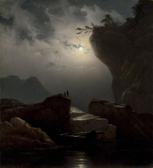 Knude Baade, Coastal Landscape in Moonlight, 1851..Knud Baade was a Norwegian painter, mostly of portraits and landscapes. He was particularly known for his moonlight paintings which are characterized by strong and dramatic contrasts between light and shadow. Wikipedia Born: March 28, 1808 Died: 1879