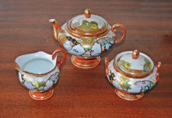 Antique Japanese Satsuma Moriage Teapot Creamer by Collectitorium