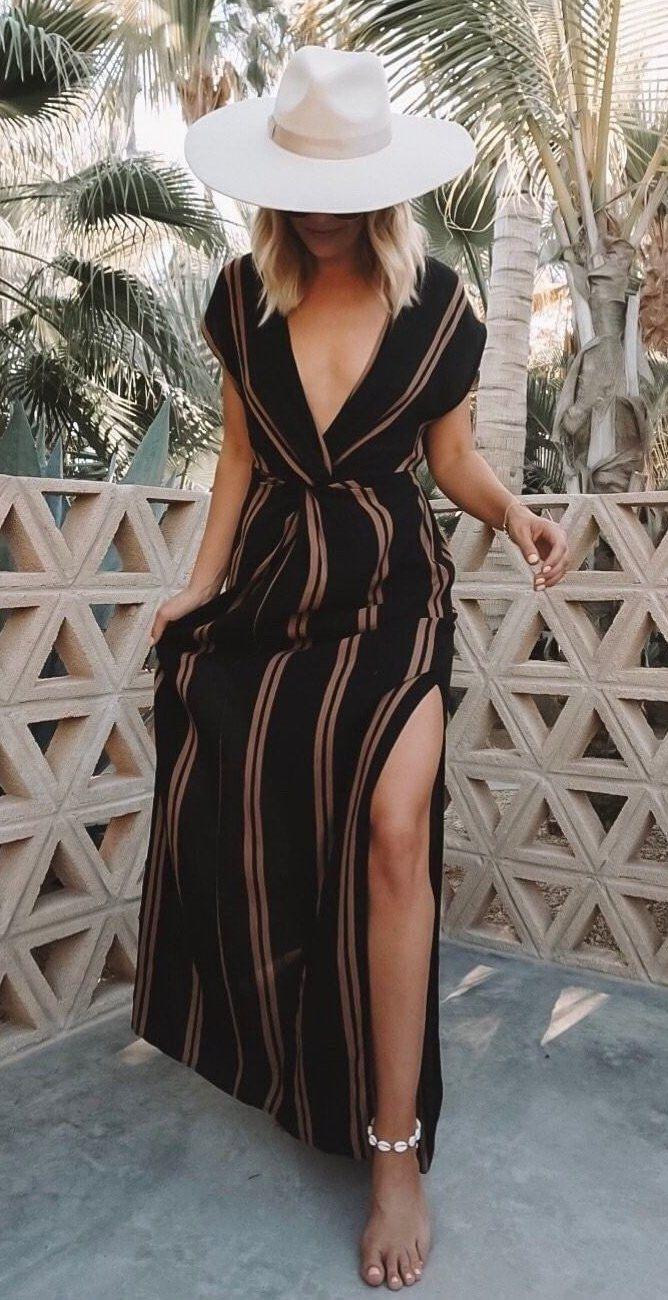 black and brown striped v-neck side slit dress #spring #outfits