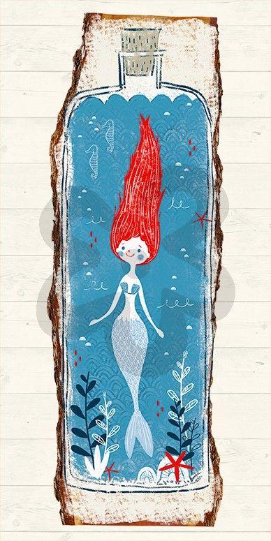 Mermaid In A Bottle, Beach & Ocean Canvas Wall Art | Oopsy Daisy