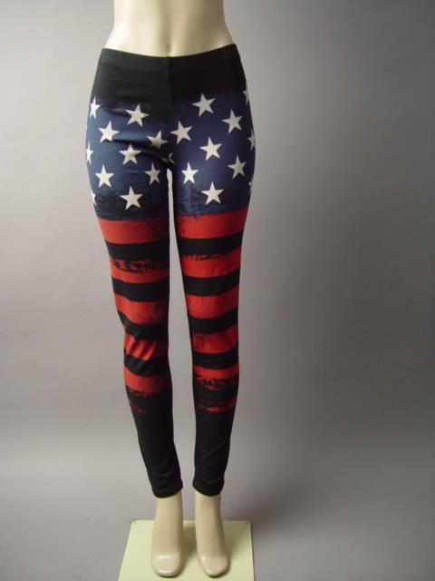 Black American US Flag Old Glory Graphic Rock&Roll Pants Leggings 2XL 3XL #usflagleggings #americanflagleggings #starsandstripes