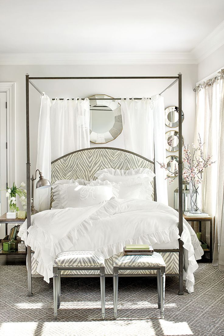 Louisa metal posted bed with tie top drapery