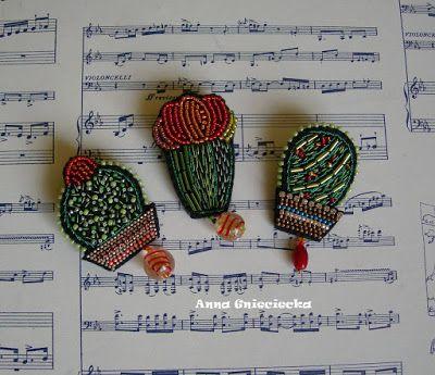 handmade cacti brooch by Anna Gnieciecka