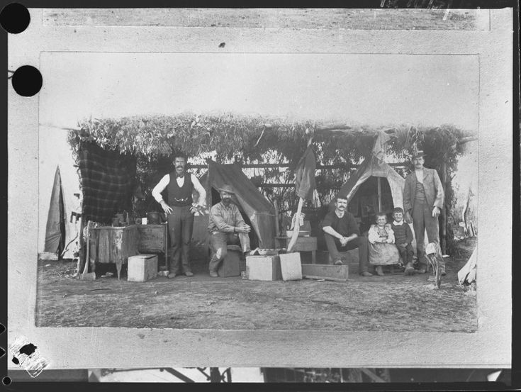 255001PD: Four men and two children at a bush camp, ca. 1900.  http://encore.slwa.wa.gov.au/iii/encore/record/C__Rb2460722__S255001pd__Orightresult__U__X3?lang=eng&suite=def