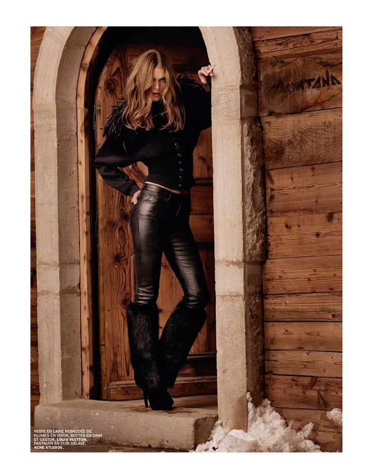 Malgosia Bela in leather and fur pants by Acne Studio, blouse Louis Vuitton