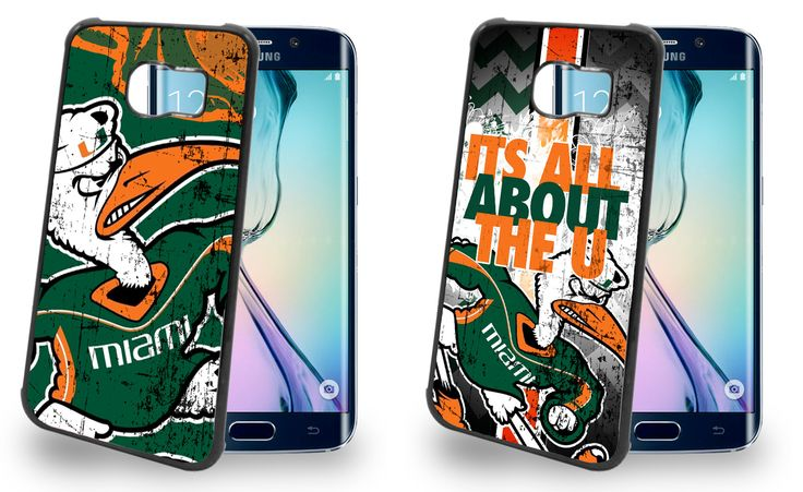 Miami Hurricanes Cell Phone Hard Case TWO PACK for Samsung Galaxy S6, Samsung Galaxy S6 Edge