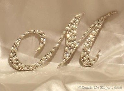 The Original Crystal and Pearl Monogram Cake Topper on Etsy