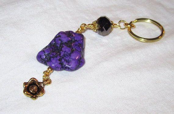 Purple Keychain Turquoise Gemstone Women Accessories by cdjali, $12.00