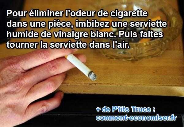 En utilisant du vinaigre blanc, les odeurs de fumée de cigarette vont disparaître.   Découvrez l'astuce ici : http://www.comment-economiser.fr/enlever-l-odeur-de-cigarette-dans-une-piece.html?utm_content=bufferc6899&utm_medium=social&utm_source=pinterest.com&utm_campaign=buffer