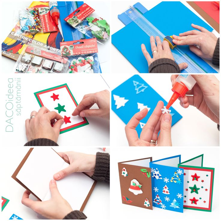 DACOideea săptămânii - Felicitări de sezon. Materiale necesare: Carton color asortat, Hârtie albă A4, Brazi mici cu sclipici, Veseli clopoței, Decorici mici, Brăduleți sclipăreți, Silipici și Trimmer A4 DACOart. TUTORIAL VIDEO: https://youtu.be/UtauV1RRvzQ. Produsele noastre sunt disponibile în magazinele partenere și pe http://www.dacomag.ro.
