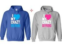 Wish | I Love My Crazy Boyfriend, I Love My Crazy Girlfriend Couple Matching Hoodie.Couple Hooded Sweater.Couple Pull Over. His and Hers Sweatshirt