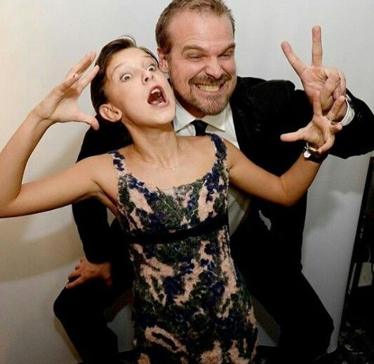 hopper david harbour and millie bobby brown eleven stranger things