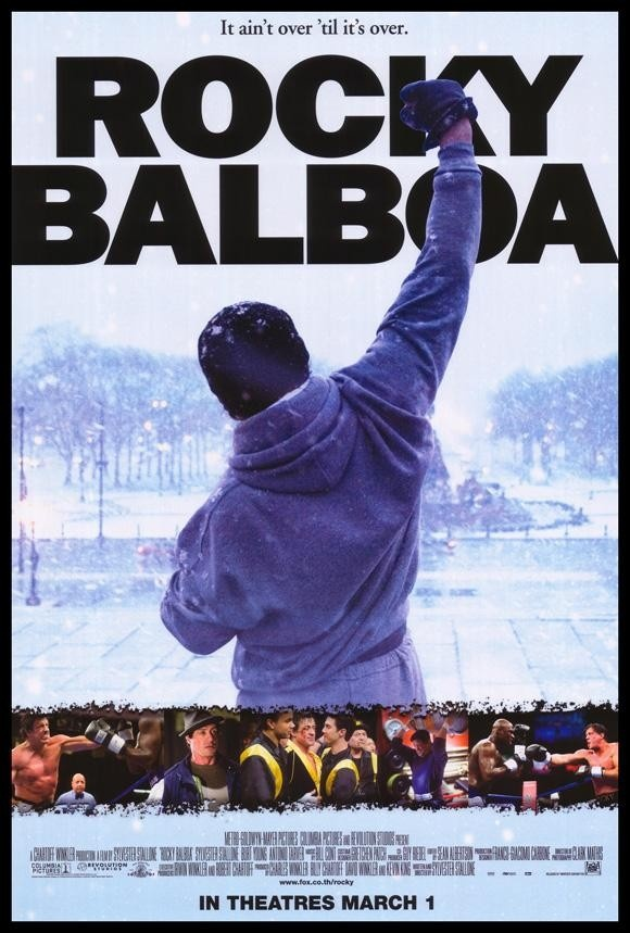 Rocky Balboa. Picked this up on DVD at a car boot sale. Paid £1. That was a pound well spent. I wasn't expecting much but what a great movie. Rocky was great, Rocky 2 was good but never got around to watching the rest. This was excellent.