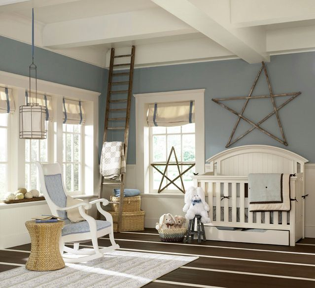 We love the reclaimed star in this room! #nurseryWall Colors, Boys Nurseries, Blue Wall, Room Colors, Baby Boys, Baby Room, Painting Colors, Nurseries Ideas, Baby Nurseries