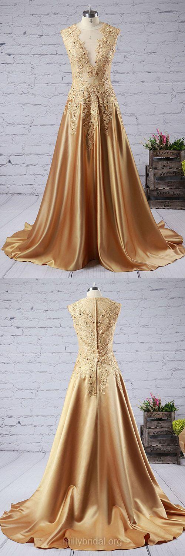 Modest Long Prom Dresses, Gold Prom Dresses, V-neck Party Dresses, Silk-like Satin Lace Formal Evening Dresses