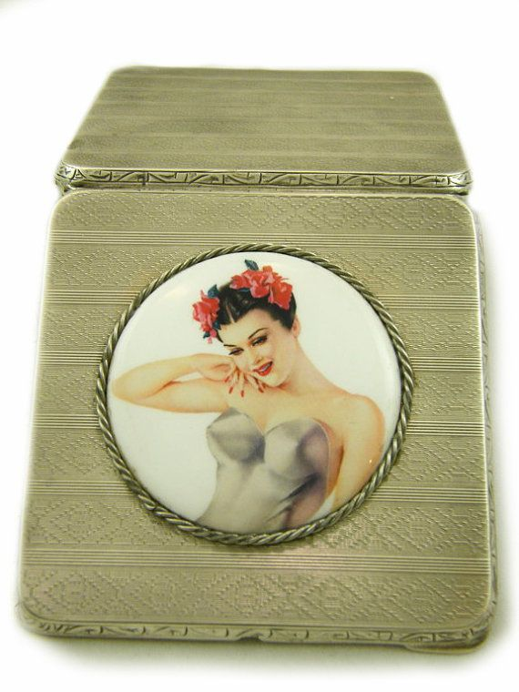 Art Deco Cigarette Case Sterling Silver Dated and Hallmarked 1926 Birmingham RN Maker, Vargas Girl Tobaccian Case