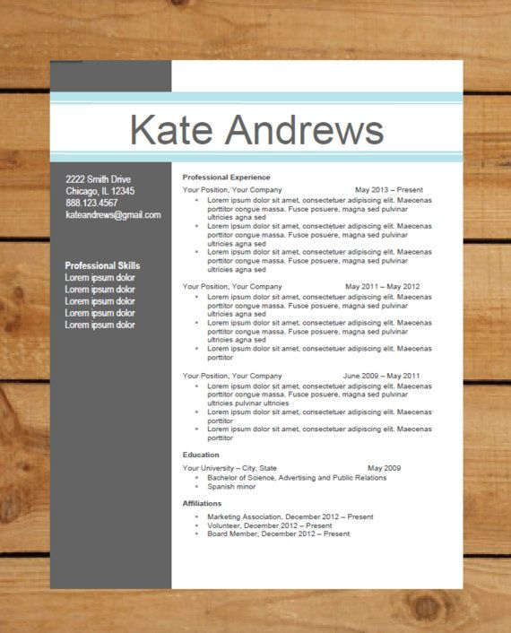 resume template instant word document download modern resume design blue bar - Modern Resume Template Word