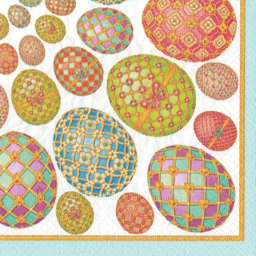 Caspari Imperial Easter Eggs Printed 3-Ply Paper Cocktail Napkins Wholesale 13040C