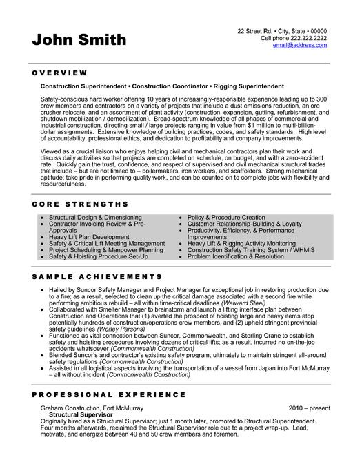 Construction Superintendent Resume Samples  Insuper Resume Builder