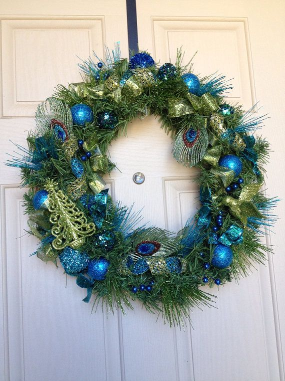 Beautiful Teal & Green Christmas Wreath on Etsy, $65.00