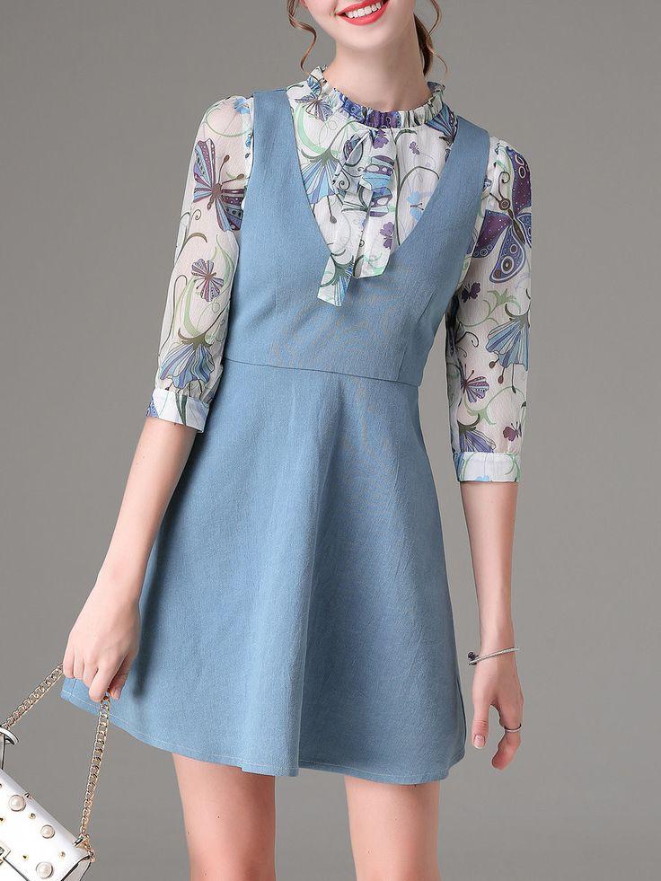 Chiffon Denim Two Piece Embroidered 3/4 Sleeve Casual Mini Dress