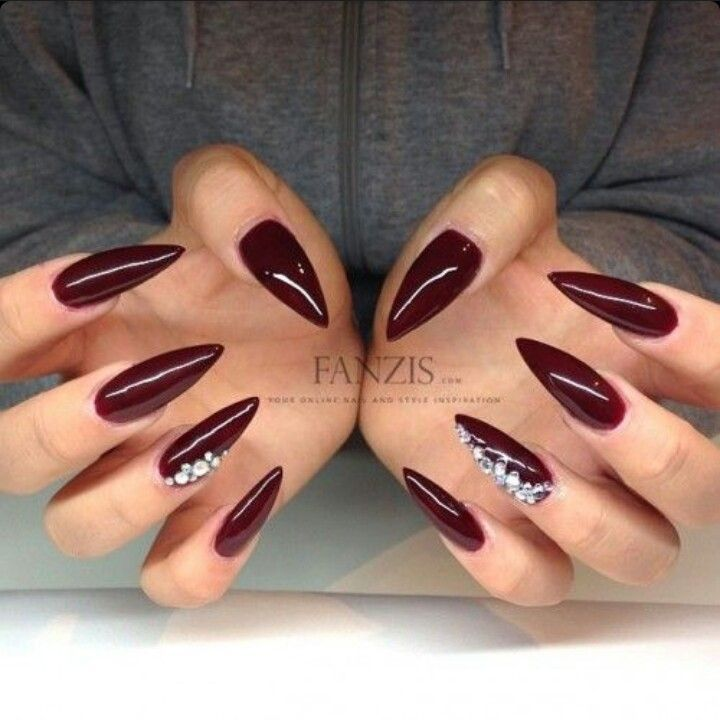 Dark Red / Wine Red Stiletto Acrylic Nails w/ Rhinestones: