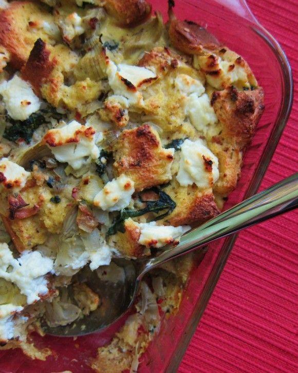 Artichoke, spinach, goat cheese strata. Mmmm!!