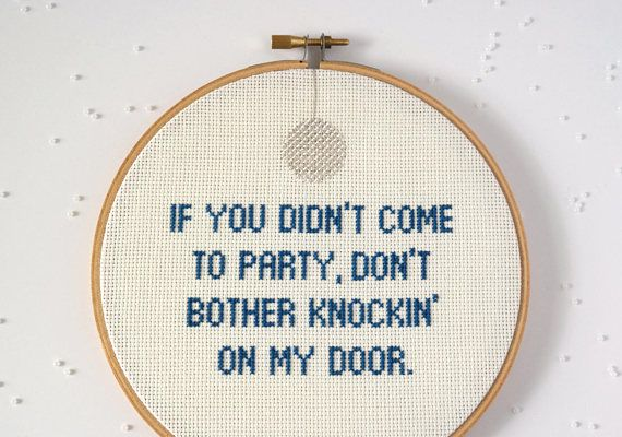1999, Prince, modern cross stitch, 1980s pop culture, song lyrics, music quote, disco ball