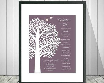 Godmother Gift Baptism Gift for Godparents by SayitinStyleArt