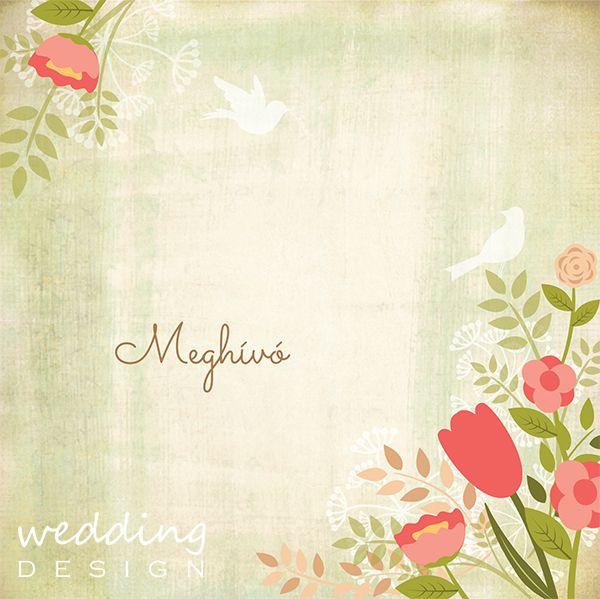 Wedding invitation card with tulip and flowers - Esküvői meghívó tulipánnal és virágokkal