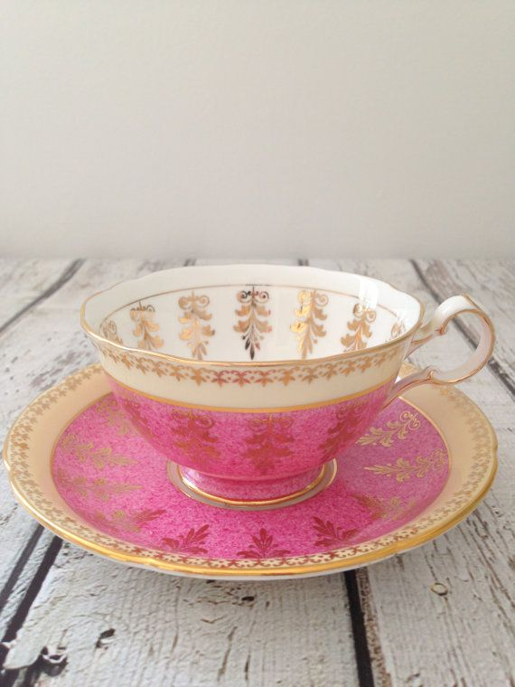 Vintage Royal Grafton Fine Bone China Tea Cup and Saucer. Pink with gold decor on white interior