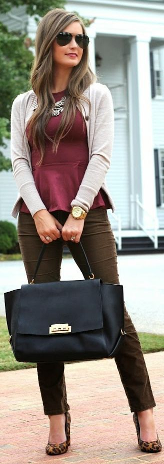 I like the colors of this outfit. I also like the peplum shirt and would love this color of brown pant!