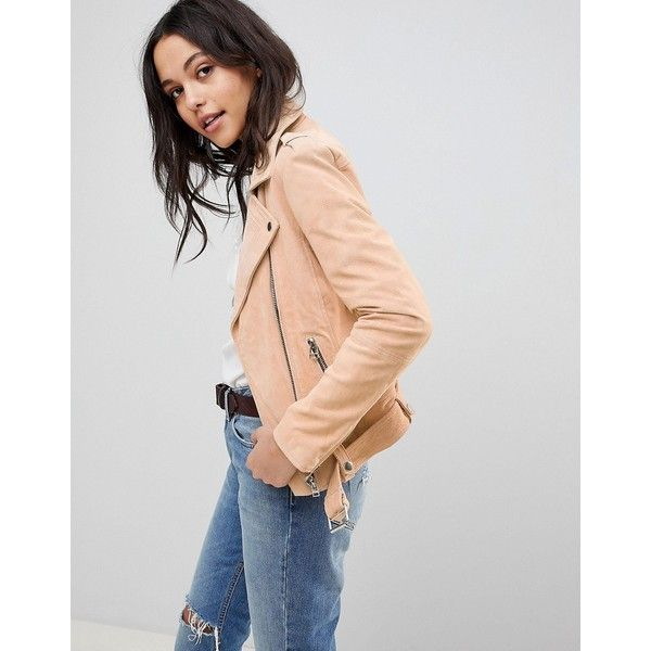 Goosecraft Suede Biker Jacket with Belt (€210) ❤ liked on Polyvore featuring outerwear, jackets, pink, cold weather jackets, pink suede jacket, suede jacket, pink biker jackets and suede motorcycle jacket