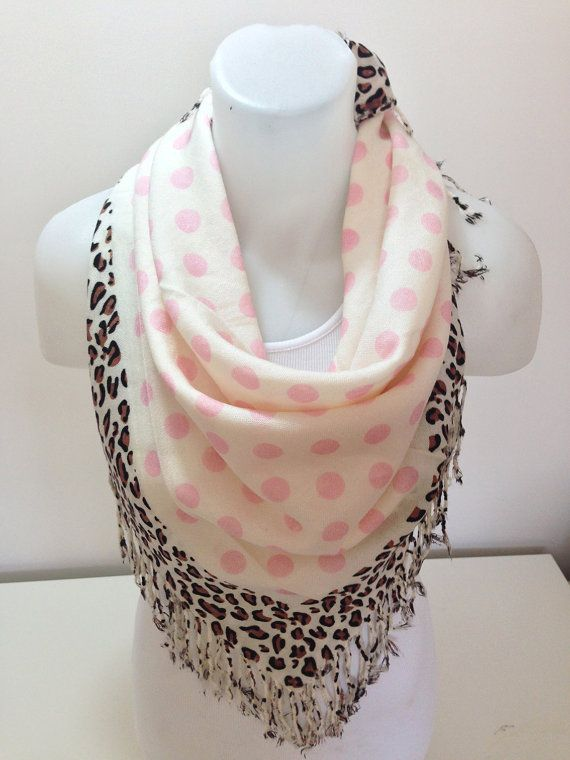 ON SALEMulticolor Scarf Leopard and Polka Dots Scarf by BalMelek, $13.90