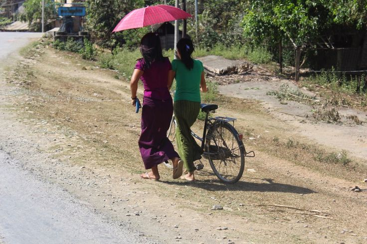 Myanmar girls with bike