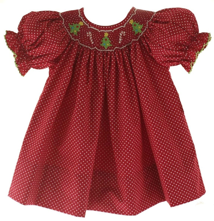 Petit Bebe Girls Red & White Polkadot Smocked Christmas Dress