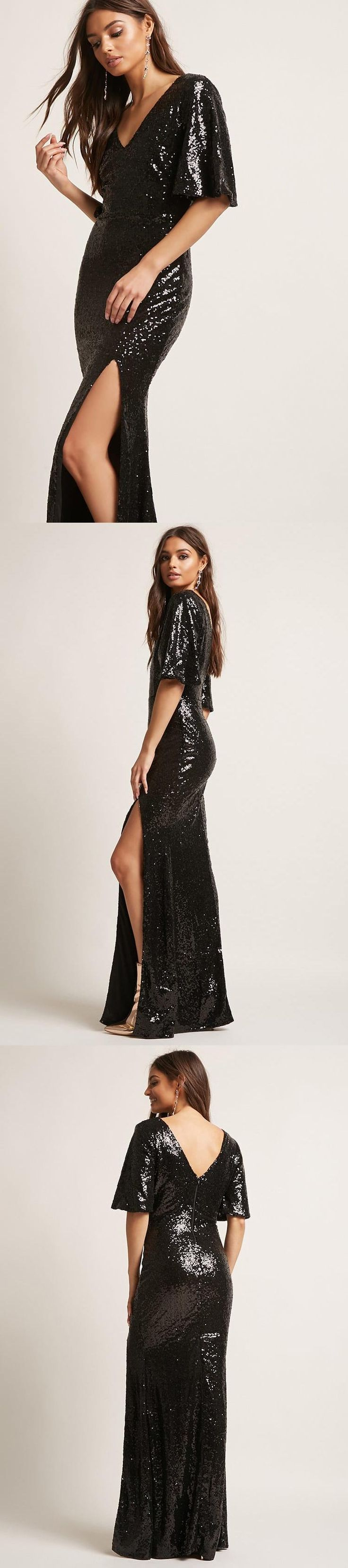 Sequin Bell-Sleeve Maxi Dress // 58.00 USD // Forever 21