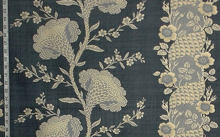 Blue toile fabric colonial coxcomb flower stripe from Brick House Fabric: Novelty Fabric