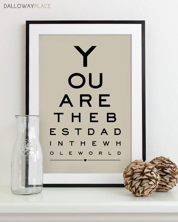 Fathers Day Gift For Dad Gift Art Print Eye Chart by DallowayPlace, $19.00