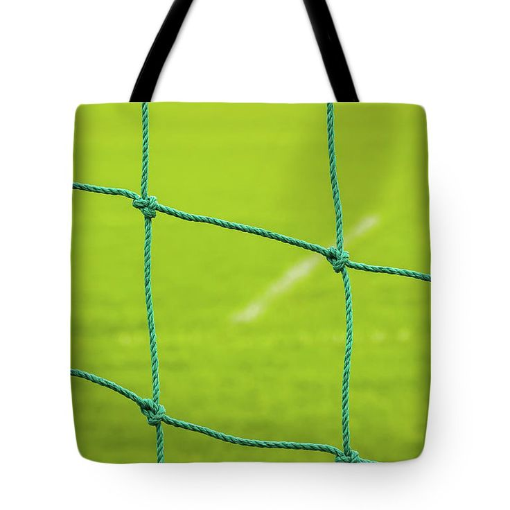 Soccer Net  Tote Bag by Svetlana Iso.  The tote bag is machine washable, available in three different sizes, and includes a black strap for easy carrying on your shoulder.  All totes are available for worldwide shipping and include a money-back guarantee. #SvetlanaIso #SvetlanaIsoFineArtPhotography #Photography #ArtForHome #InteriorDesign #Football #Sport #Green #Bags