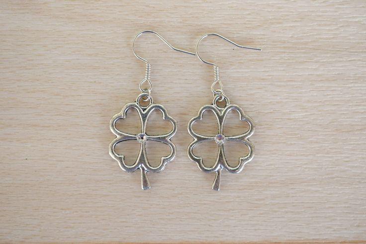 Silver Clover Earrings - Good Luck Jewelry - Irish Earrings - Handmade Jewelry - Four Leaf Clover Dangle Earrings - Nature Jewelry by SkadiJewelry on Etsy